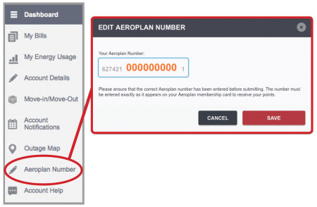 Adding Your Aeroplan Number to Your Account